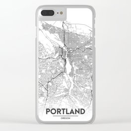 Minimal City Maps - Map Of Portland, Oregon, United States Clear iPhone Case