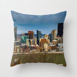 Pittsburgh Skyline Mount Washington Print Throw Pillow
