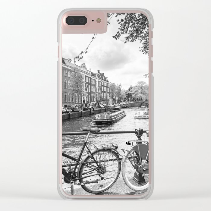 Bicycles parked on bridge over Amsterdam canal Clear iPhone Case