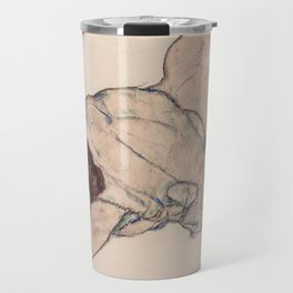 KNEELING GIRL, RESTING ON BOTH ELBOWS - EGON SCHIELE Travel Mug