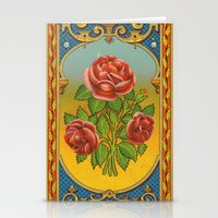 fez Stationery Cards featuring Vintage Fez Label with Roses by Connie Goldman