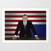 frank underwood Art Prints featuring House Of Cards - Frank Underwood by Tom Storrer