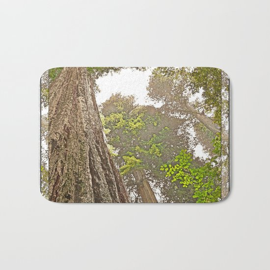 STOUT GROVE REDWOODS 3 LOOKING UP INTO THE TREES Bath Mat