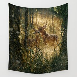 Whitetail Deer - A Golden Moment Wall Tapestry