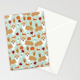 Corgi - Pumpkin Spice, psl, coffee, latte, pumpkin pie,  fall, autumn, holiday, Stationery Cards