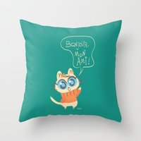 bonjour Throw Pillows featuring Bonjour by AronDraws