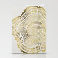 tree rings Stationery Cards featuring Gold Tree Rings by Cat Coquillette