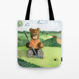Golfer Bear Tote Bag