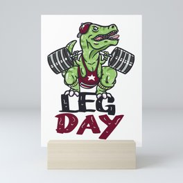 T-Rex Dinosaur Leg Day Gym Workout design Weight Lifting Mini Art Print