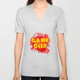 Game Over Cartoon Comic Explosion Unisex V-Neck