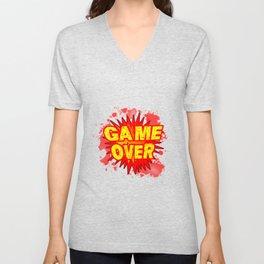 Game Over Cartoon Comic Explosion Unisex V-Neck