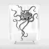 shower Shower Curtains featuring Octopus by TAOJB