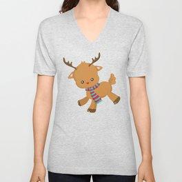 Cute Reindeer, Reindeer With Scarf, Red Nose Unisex V-Neck