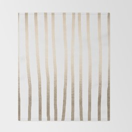 Simply Drawn Vertical Stripes in White Gold Sands Throw Blanket