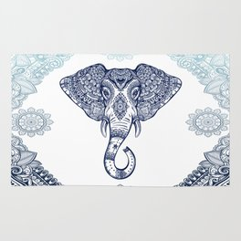 Bohemian Elephant Tribal Boho Gradient Blue Rug