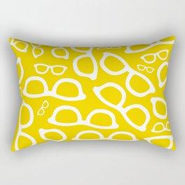 Smart Glasses Pattern - Yellow Rectangular Pillow