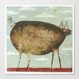 Piggy On The Move Canvas Print