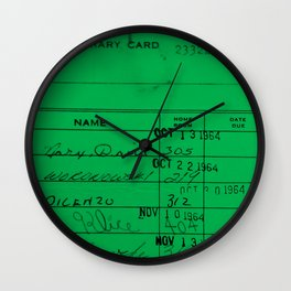 LIbrary Card 23322 Green Wall Clock