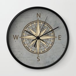 compass on cement background Wall Clock