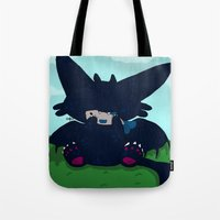 toothless Tote Bags featuring Toothless by DaemonDeDevil