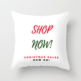 Shop now! Christmas shopping sign in 60s Throw Pillow