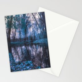 Enchanted Forest Lake Turquoise Teal Gray Stationery Cards