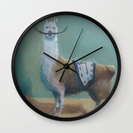 Dali Llama Funny Mustache Melted Clock Salvador Dadaism Wall Clock