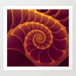 Infinity | Gold Burgundy Sea Shell Art Print