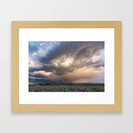 Yellowstone National Park - Sunset storm over the Washburn Range Framed Art Print