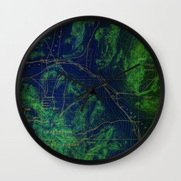 Las Vegas old map year 1908, Las Vegas antique map, green and blue Wall Clock