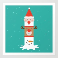 Day 11/25 Advent - Holiday Totem Art Print