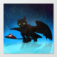 toothless Canvas Prints featuring Toothless by sevillaseas
