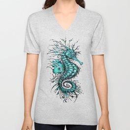 Cyan Seahorse Unisex V-Neck