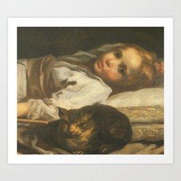 Cat in the art -Bernhardt keil – The cat and the girl Art Print