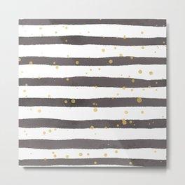Modern gray yellow white watercolor splatters stripes Metal Print