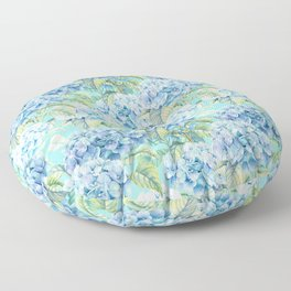 Blue floral hydrangea flower flowers Vintage watercolor pattern Floor Pillow