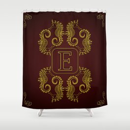 Letter E Seahorse Shower Curtain