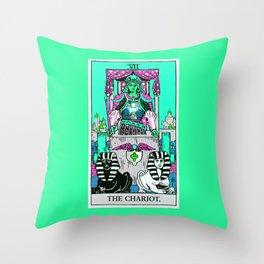 7. The Chariot- Neon Dreams Tarot Throw Pillow