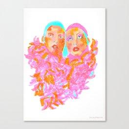 Pink Ladies blue hair pink boa gemini twins Canvas Print