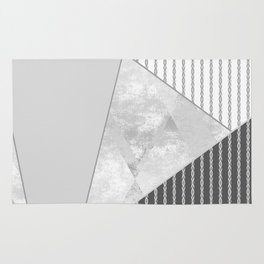 Valencia 4. Abstract grey, white geometric pattern. Rug
