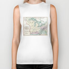 Vintage Map of The Great Lakes & Midwest (1801) Biker Tank