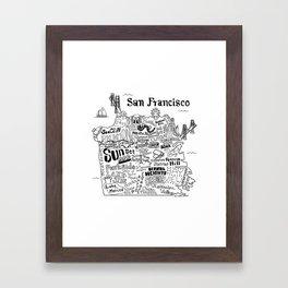 San Francisco Map Illustration Framed Art Print