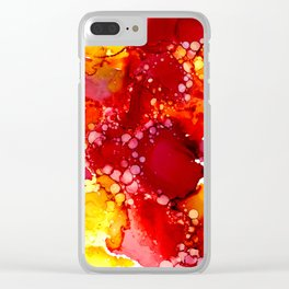 Red & yellow abstract ink art Clear iPhone Case