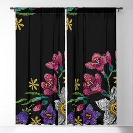 Embroidered Flowers on Black Corner 02 Blackout Curtain
