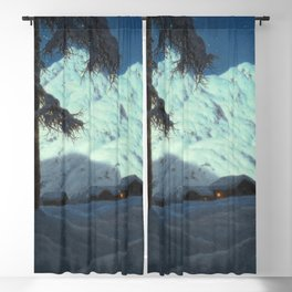 Winter Cabin in the Mountains landscape painting by Ivan Fedorovich Choultsé Blackout Curtain