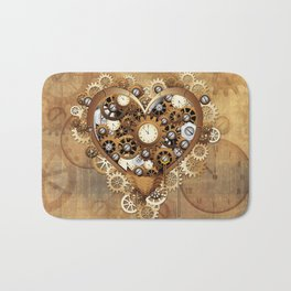 Steampunk Heart Love Bath Mat