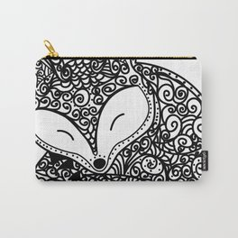 Black and White Mandala Fox Design Illustration Carry-All Pouch