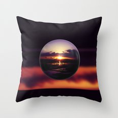 Float on the clouds like a drop of dew and bask in the light of a sunrise view Throw Pillow