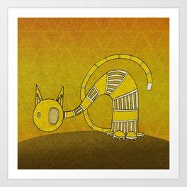 Yellow Curious Cat III Art Print