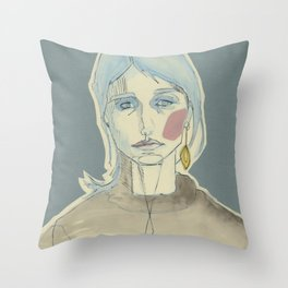 girl with one earring Throw Pillow